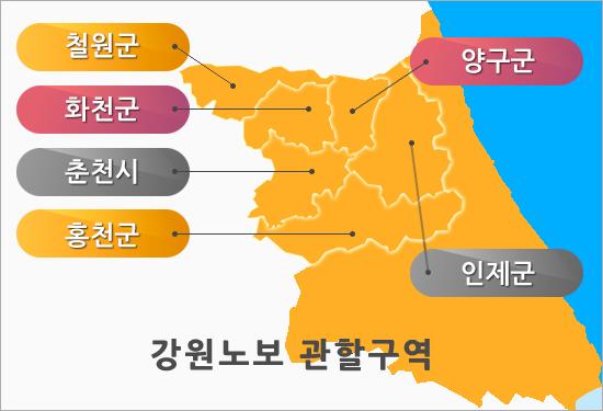 관할구역-철원군, 화천군, 춘천시, 홍청군, 양구군, 인제군
